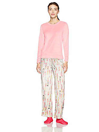 3ba78229b3c3b3 Hue Womens Sueded Fleece Long Sleeve Tee and Pant 3 Piece Pajama Set,  Flamingo Pink