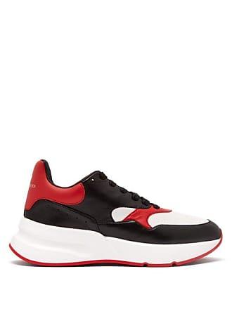 Alexander McQueen Alexander Mcqueen - Runner Raised Sole Low Top Leather Trainers - Mens - Black Red