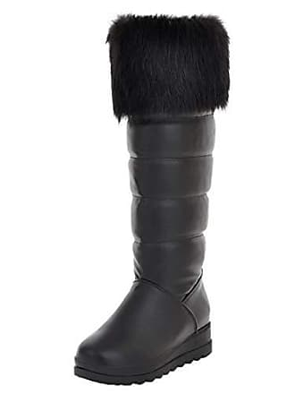 ba12355492364f Aiyoumei Winter Schneestiefel Damen Kniehohe Stiefel mit Keilabsatz und  Fell Kniestiefel Plateau Langschaftstiefel Schwarz 38.5 EU