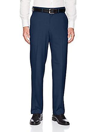Haggar Mens Premium Comfort Classic Fit Flat Front Expandable Waist Pant, Blue, 38Wx38L