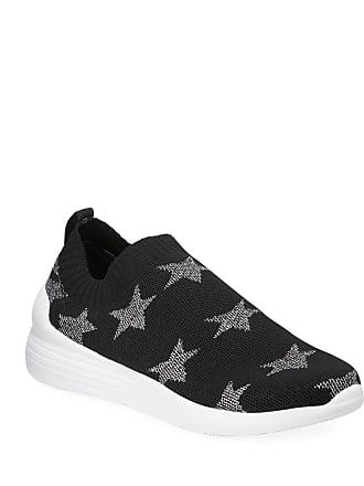Neiman Marcus Metallic Star Slip-On Knit Sneakers, Black/Silver