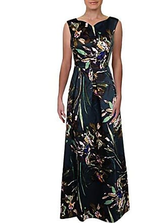 Ellen Tracy Womens Satin Floral Cocktail Gown, Multi 8