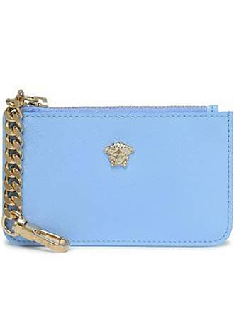 510e20cf21 Versace Versace Woman Embellished Textured-leather Pouch Azure Size