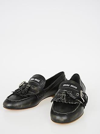 3ef4842a9f36d1 Miu Miu Vintage Effect Leather Loafers Größe 36