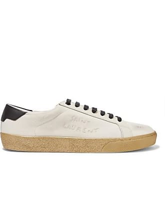 Saint Laurent Court Classic Leather-trimmed Logo-embroidered Distressed Canvas Sneakers - Cream