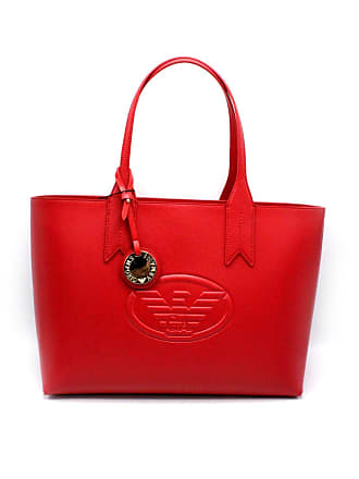 Emporio Armani Red Textured Logo Shopper Bag Red leather 199b0c7480ad9