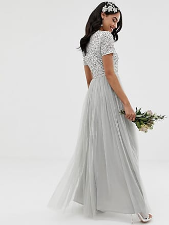 c51aadcef8f Maya Bridesmaid v neck maxi tulle dress with tonal delicate sequins in soft  grey - Grey