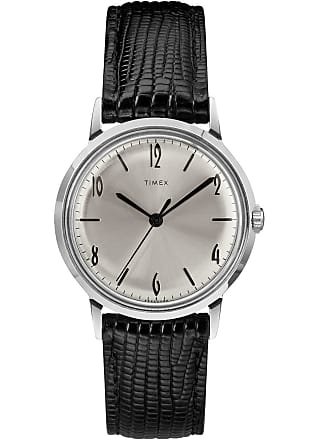 Timex Watch Mens Marlin Hand-Wound 34MM Leather Strap Stainless Steel/black/silver-Tone Item Tw2R47900Zv