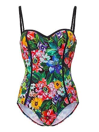 fe2956f302420 Madeleine Bandeau-Badeanzug mit Blütenmuster Damen schwarz/multicolor / gelb