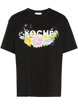 Koché Camiseta floral com estampa de logo - Preto