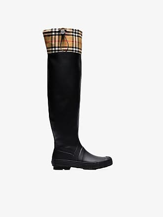 278cd921f81 Burberry Vintage check and rubber knee-high rain boots