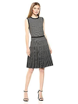 Anne Klein Womens Stripe FIT and Flare Knit Dress, BLK/Anne White, M