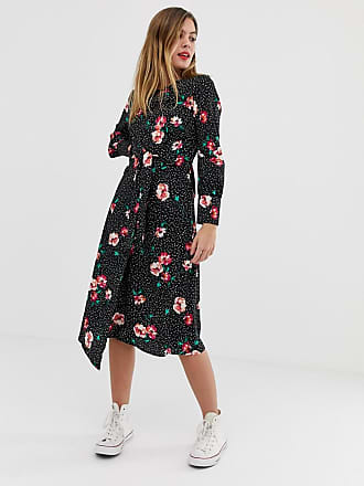 Influence knot front asymmetric wrap dress in floral and polka dot print - Black