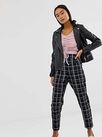 New Look pants in check - Black