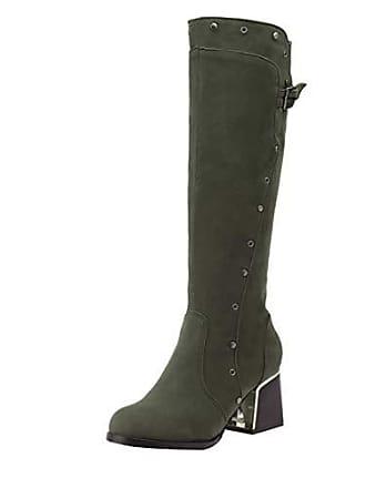 2824277de6 UH Damen High Knee Boots Stiefel mit Blockabsatz und Nieten 6cm Absatz  Schuhe