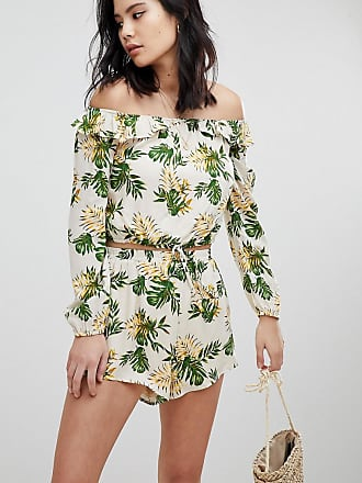 f051ca38b0a726 Honey Punch Long Sleeve Crop Top With Off Shoulder Ruffle Co-Ord