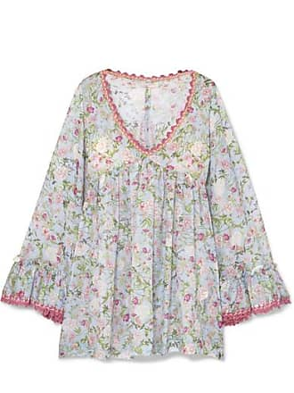 190f10e4bed0 Anjuna Nelly Crochet-trimmed Floral-print Cotton-voile Dress - Light blue