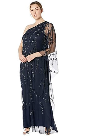 427e33abeb9 Adrianna Papell Plus Size One Shoulder Beaded Kaftan Evening Gown  (Midnight) Womens Dress