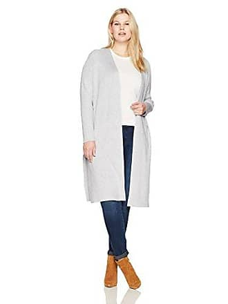 Jones New York Womens Plus Size Open Front Duster Cardigan, Silver Gry HTR, 3X