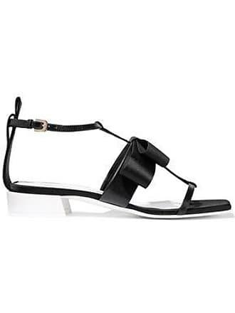 Lanvin Lanvin Woman Bow-embellished Leather, Grosgrain And Satin Sandals Black Size 36