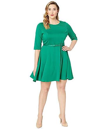 Unique Vintage Plus Size Knit Flare Dress (Green) Womens Dress