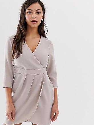 d58c482091d Asos Petite ASOS DESIGN Petite - Robe courte avec jupe portefeuille - Gris
