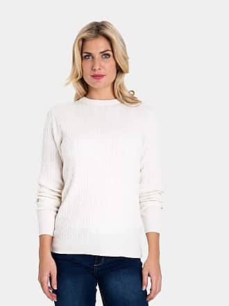 dabda63e4b1 WoolOvers Womens Cashmere and Cotton Cable Crew Neck Sweater Cream
