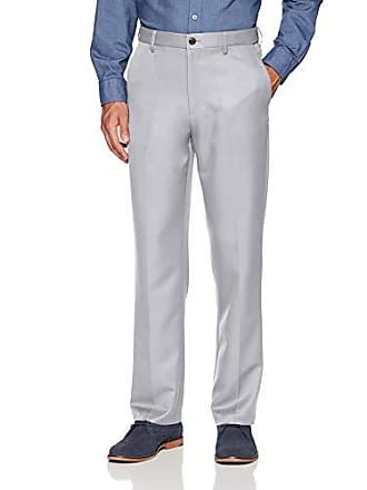 Amazon Essentials Mens Expandable Waist Classic-Fit Flat-Front Dress Pants, Light Grey, 28W x 32L