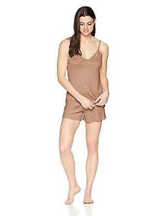 257e9b1dafdf10 Hanro Damen Pyjama Set kurz Nachtwäsche Fleur 076404, Farbe:Braun,  Wäschegröße:S