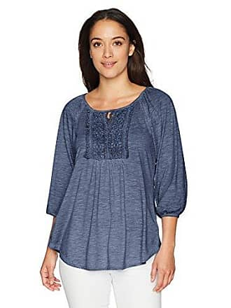 Oneworld Womens Petite 3/4 Ballon Sleeve Oil Wash Top with Keyhole Cutout, Nightshade, PXL