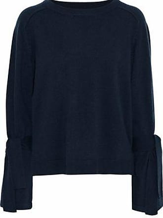 N.Peal N.peal Woman Tie-detailed Cashmere Sweater Navy Size XL