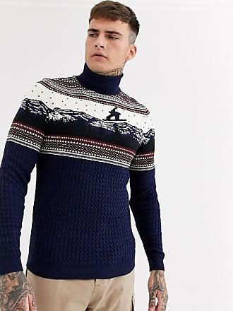 Asos Kerstmis - Coltrui met kerstprint-Marineblauw