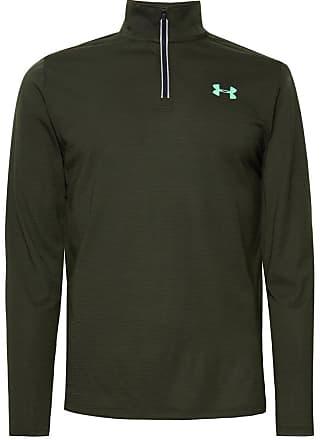 Under Armour Streaker Striped Stretch-jersey Half-zip Top - Dark green