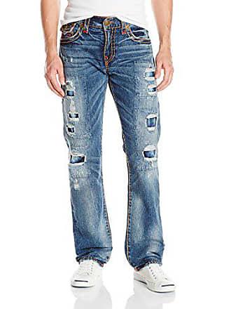 True Religion Mens Ricky Relaxed Straight Leg Rip & Repair Super T Jean, Mended Brawl, 36