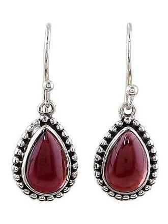 Novica Garnet dangle earrings, Radiant Dewdrops