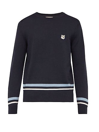 Maison Kitsuné Jacquard Stripe Embroidered Logo Wool Sweater - Mens - Navy