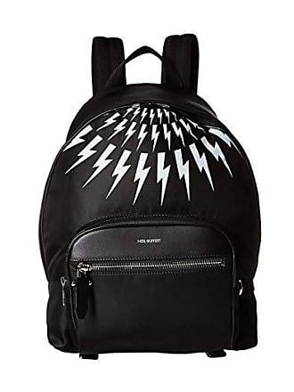 Neil Barrett Nylon Printed Thunderbolt Fair Isle Backpack (Black/White) Backpack Bags