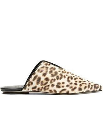 Tibi Tibi Woman Cacey Leopard-print Calf Hair Slippers Animal Print Size 36
