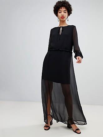 b4e7d2974518 Vero Moda Vestito lungo in chiffon nero trasparente con polsini - Nero