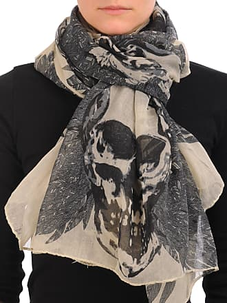 Liss Kiss Beige With Black Skull & Raven Wings Unisex Scarf & Beach Sarong - Beige Designer Scarf
