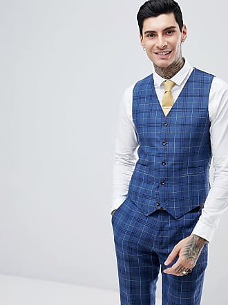 Gianni Feraud Slim Fit Wedding Check Suit vest - Navy