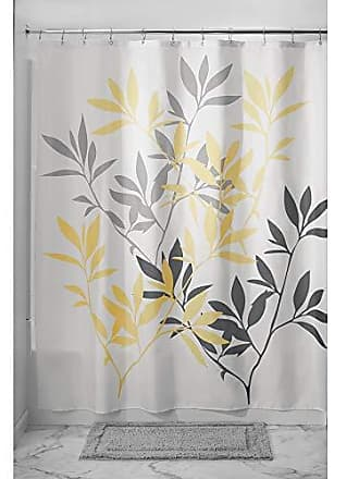 InterDesign Leaves Fabric Shower Curtain, Modern Mildew-Resistant Bath Liner for Master, Kids, Guest Bathroom, Standard, Gray and Yellow