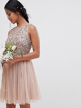 4eebd2f0969f4d Maya Bridesmaid Sleeveless Sequin Bodice Tulle Detail Mini Bridesmaid Dress  With Cutout Back