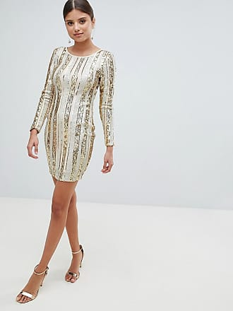 Girl in Mind Open Back Sequin Mini Dress - Gold