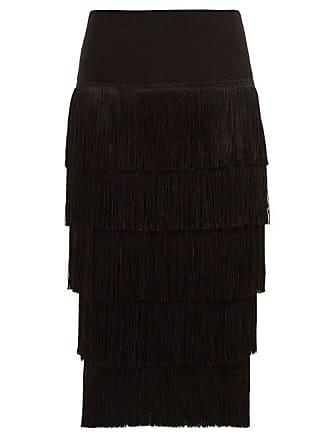 Norma Kamali Fringed Pencil Skirt - Womens - Black