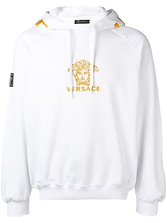 Versace embroidered Medusa logo hoodie - White