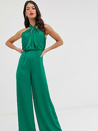 Asos Tall ASOS EDITION Tall ruched halter neck jumpsuit-Pink
