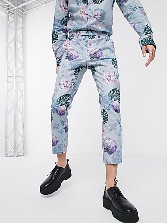 Twisted Tailor Pantaloni blu a fiori