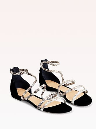 Alexandre Birman Gianny Exotic Flat Sandal - 35.5 Black Suede