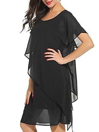 1f43b2e74e80c6 Parabler Damen Chiffonkleid Sommerkleid Freizeitkleid Kurzarm Rundhals  Einfarbig Strandkleid mit Asymmertrischem Saum